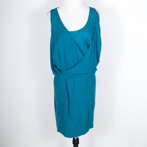 Chloe Aqua Fresh 100% Silk Faux Wrap Dress 36/US 6